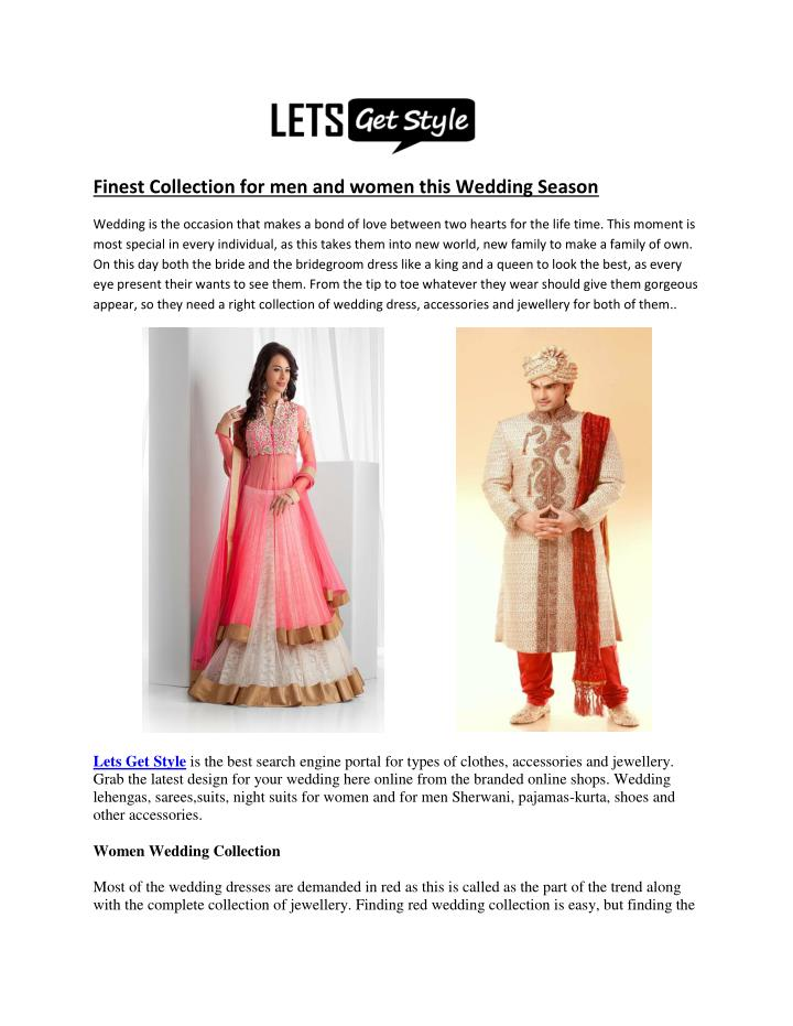 Finest Collection for men and women this Wedding Season