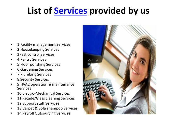 List of services provided by us
