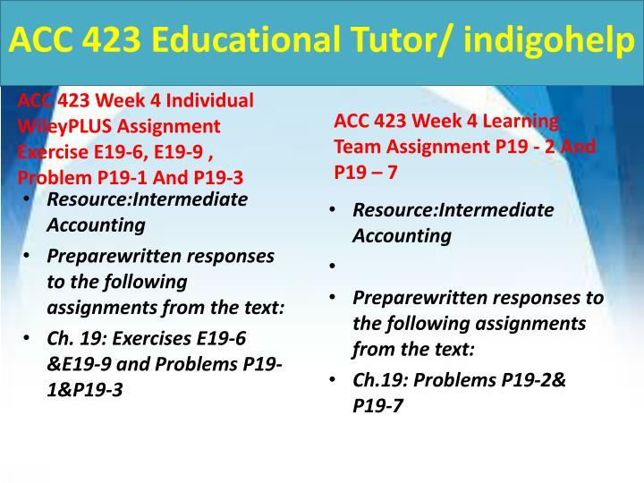 ACC 423 Educational Tutor/