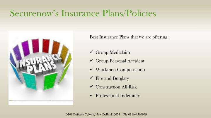Securenow's Insurance Plans/Policies