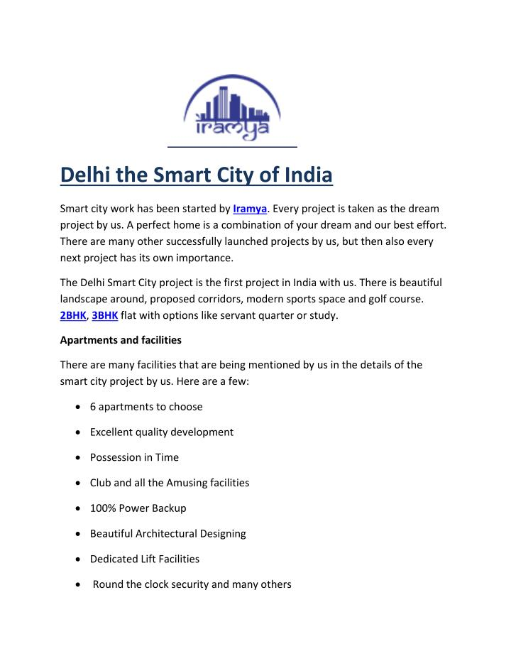Delhi the Smart City of India