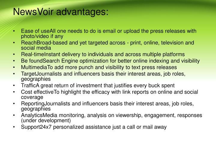 NewsVoir advantages: