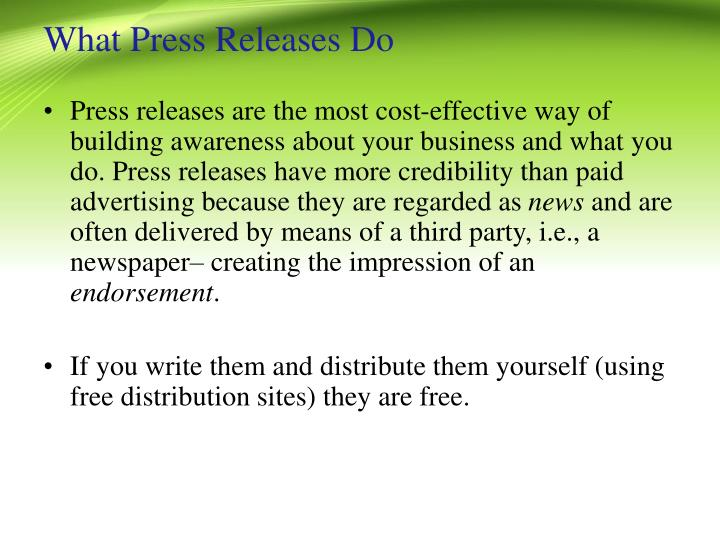 What press releases do