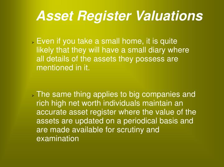 Asset Register Valuations