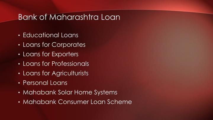 Bank of Maharashtra Loan