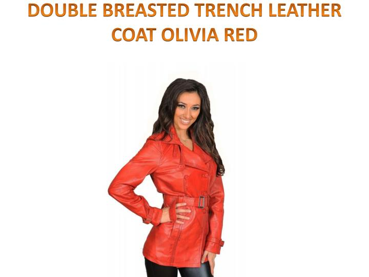 DOUBLE BREASTED TRENCH LEATHER COAT OLIVIA RED