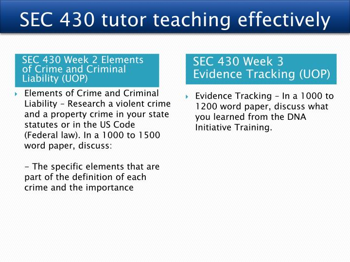 SEC 430 tutor teaching effectively