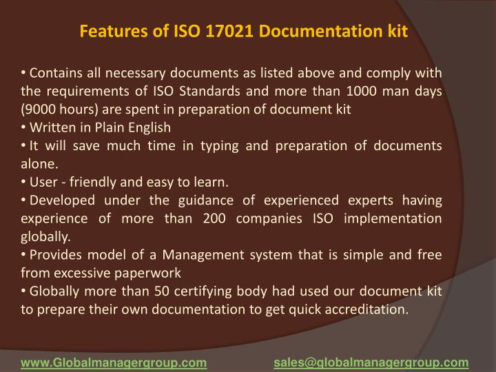 Features of ISO 17021 Documentation kit