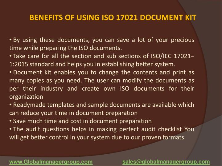 BENEFITS OF USING ISO 17021 DOCUMENT KIT