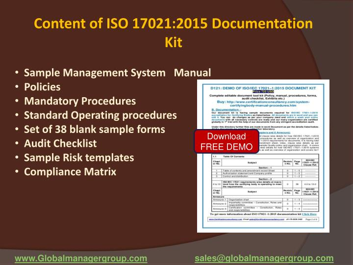 Content of ISO 17021:2015 Documentation