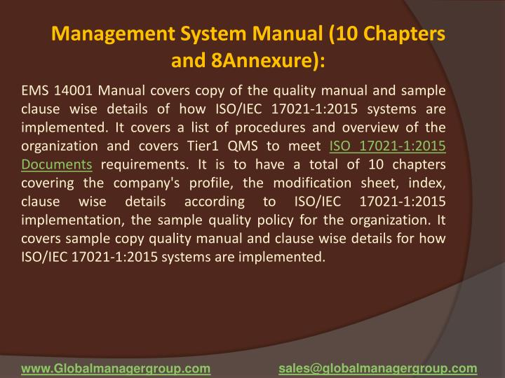 Management System Manual (10 Chapters