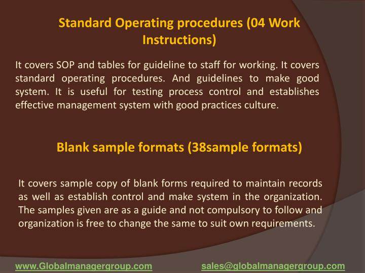 Standard Operating procedures (04 Work