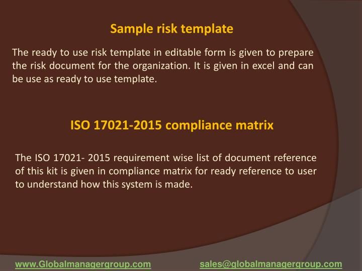 Sample risk template