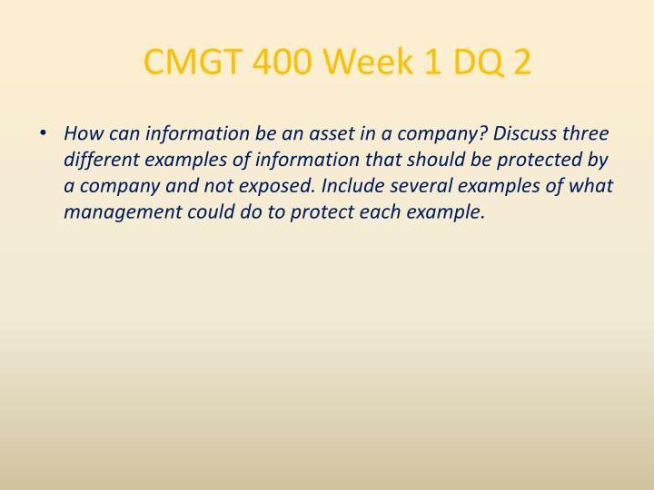 CMGT 400 Week 1 DQ 2