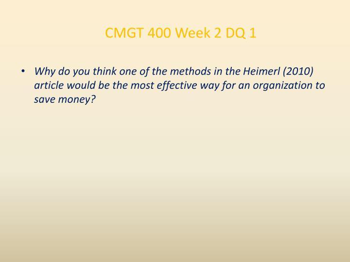 CMGT 400 Week 2 DQ 1