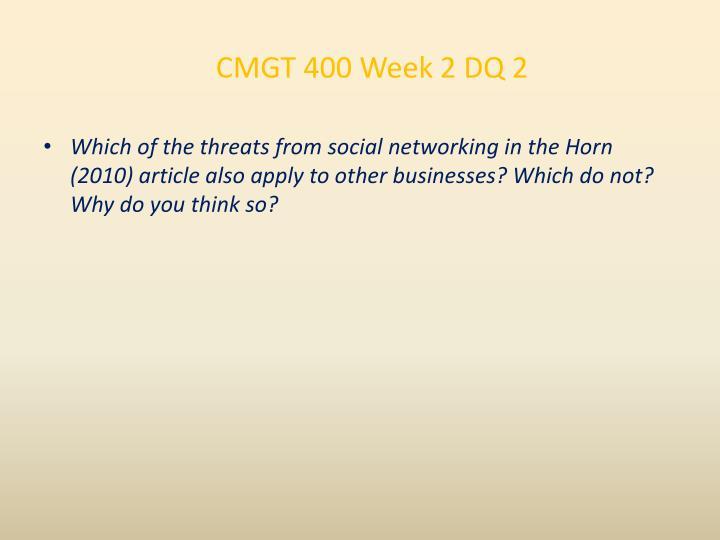 CMGT 400 Week 2 DQ 2