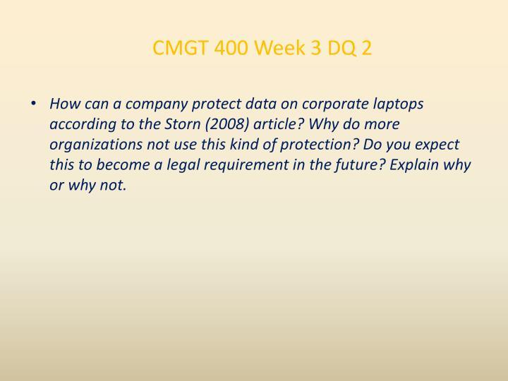 CMGT 400 Week 3 DQ 2