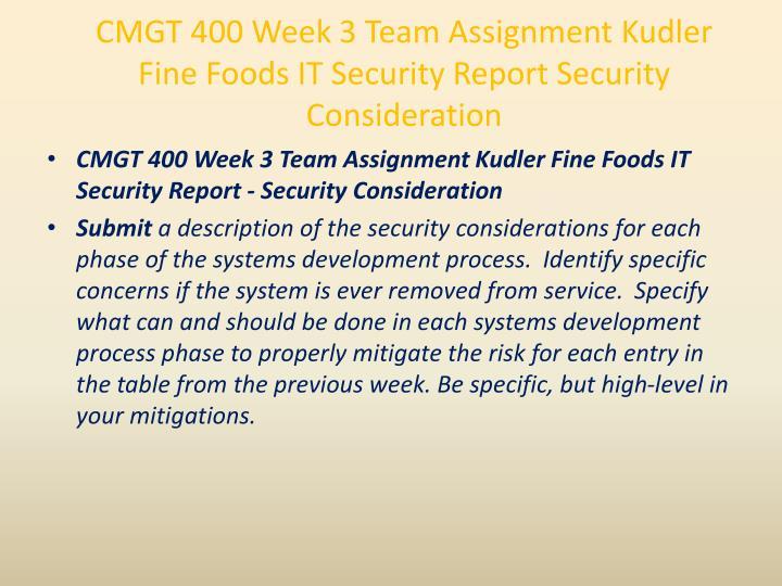 CMGT 400 Week 3 Team Assignment