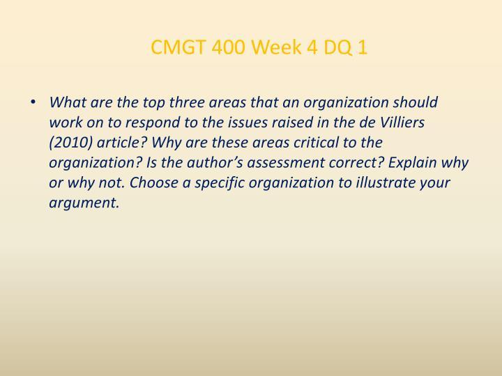 CMGT 400 Week 4 DQ 1