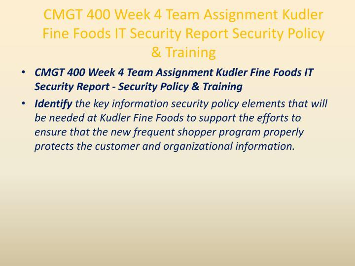 CMGT 400 Week 4 Team Assignment