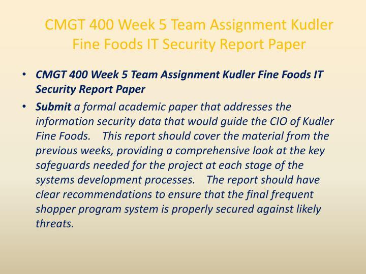 CMGT 400 Week 5 Team Assignment