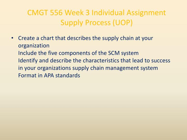 CMGT 556 Week 3 Individual Assignment Supply Process (UOP)