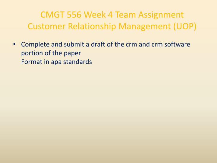 CMGT 556 Week 4 Team Assignment Customer Relationship Management (UOP)