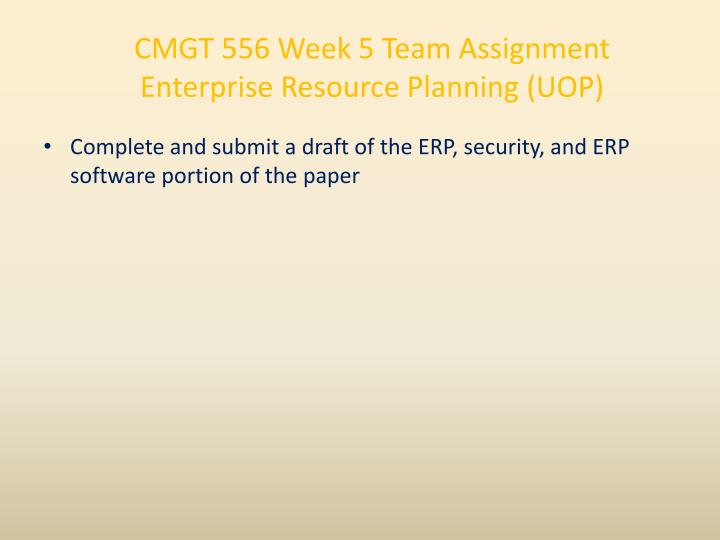 CMGT 556 Week 5 Team Assignment Enterprise Resource Planning (UOP)