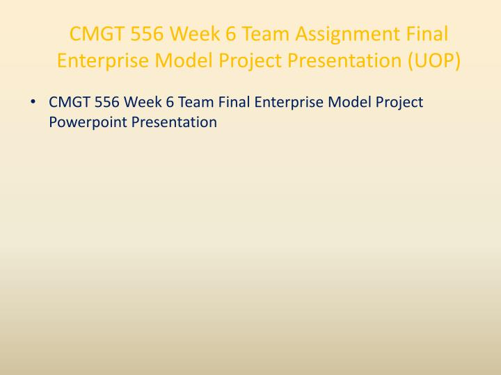 CMGT 556 Week 6 Team Assignment Final Enterprise Model Project Presentation (UOP)