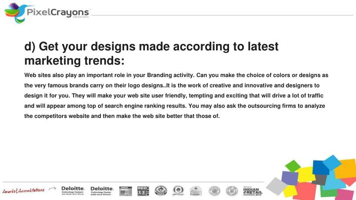 d) Get your designs made according to latest marketing trends:
