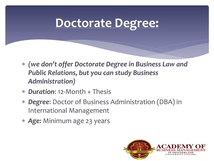 Doctorate Degree: