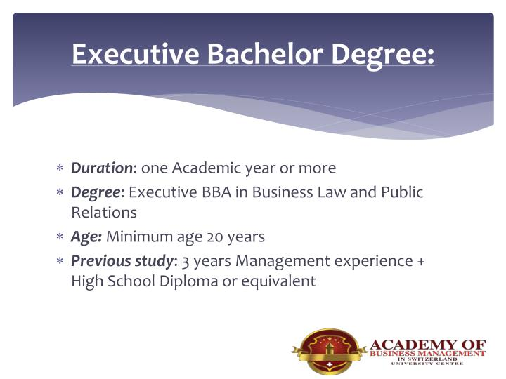 Executive Bachelor Degree: