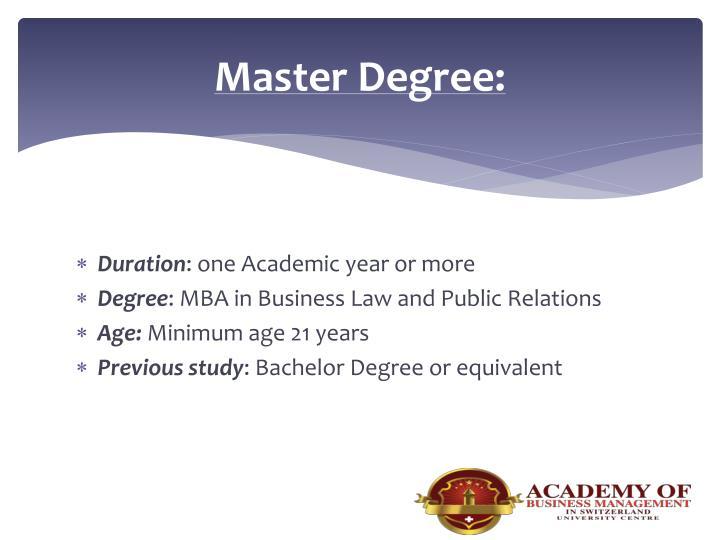 Master Degree: