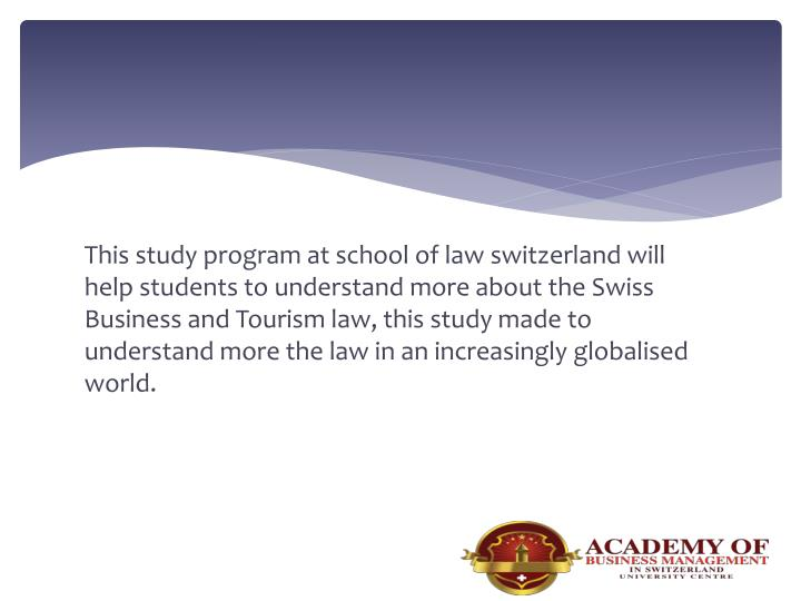 This study program at school of law