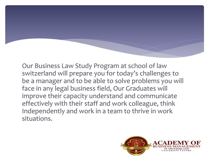 Our Business Law Study Program at school of law