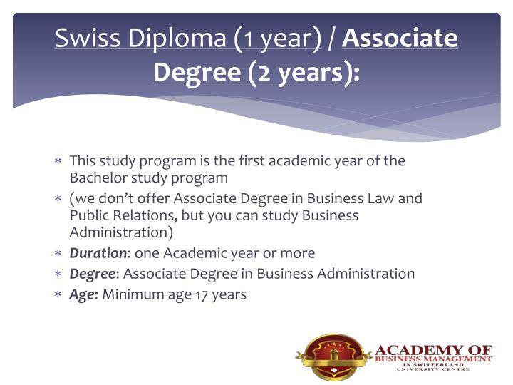 Swiss Diploma (1 year)