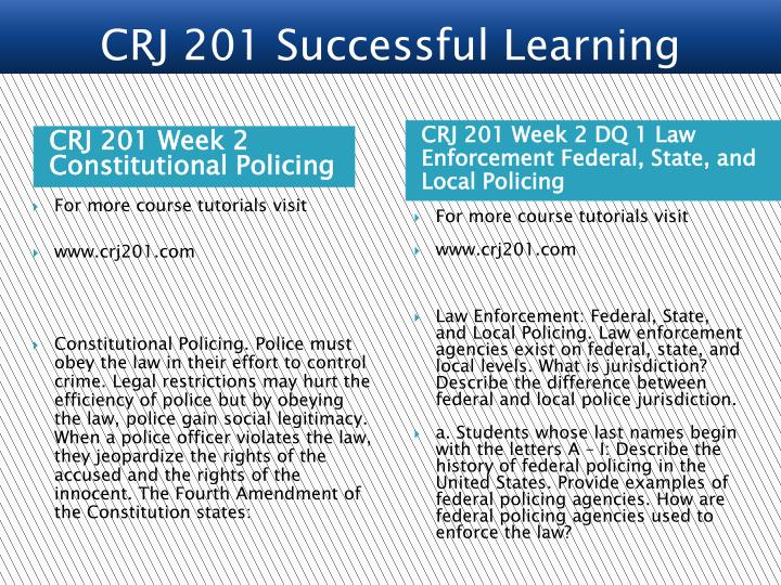 CRJ 201 Week 2 Constitutional Policing