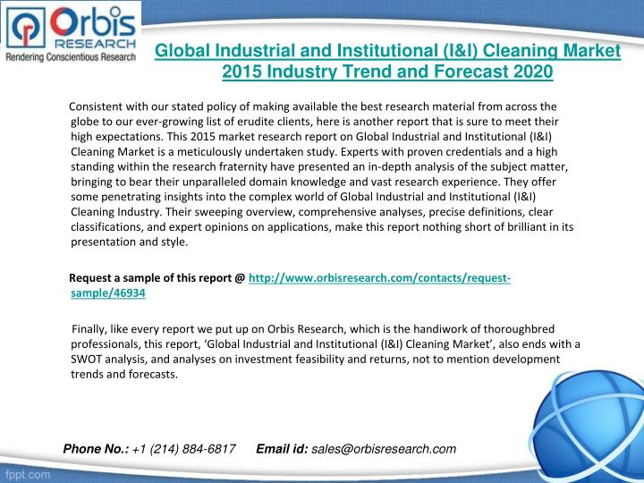 Global industrial and institutional i i cleaning market 2015 industry trend and forecast 20201