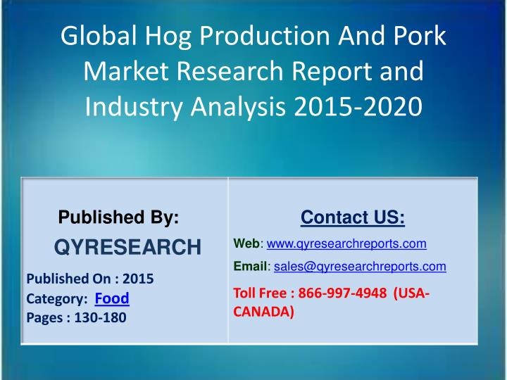Global Hog Production And Pork