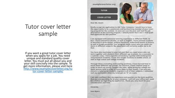 Tutor cover letter sample