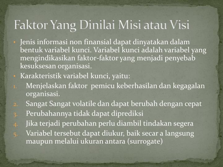 Faktor Yang Dinilai Misi atau Visi