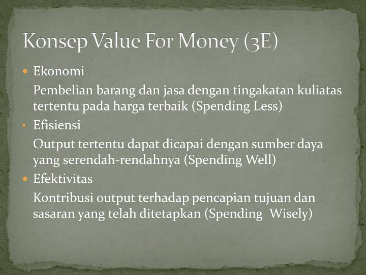 Konsep Value For Money (3E)