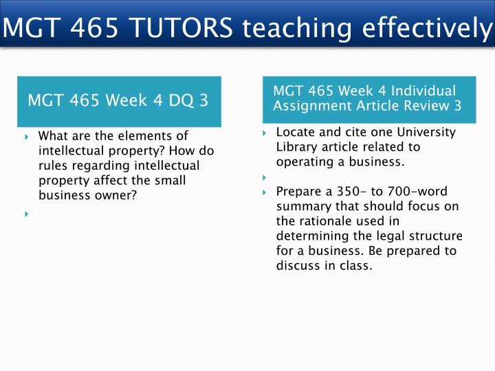 MGT 465 TUTORS teaching effectively