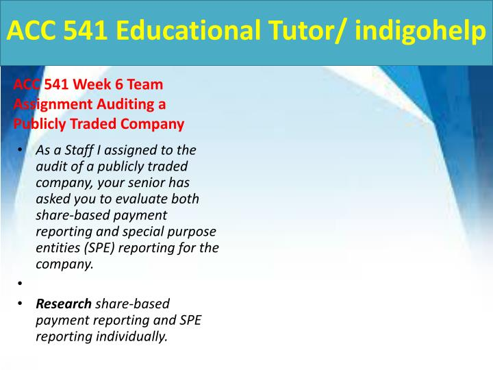 ACC 541 Educational Tutor/