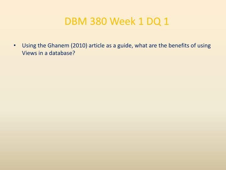 DBM 380 Week 1 DQ 1