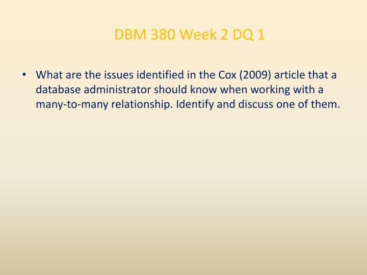 DBM 380 Week 2 DQ 1