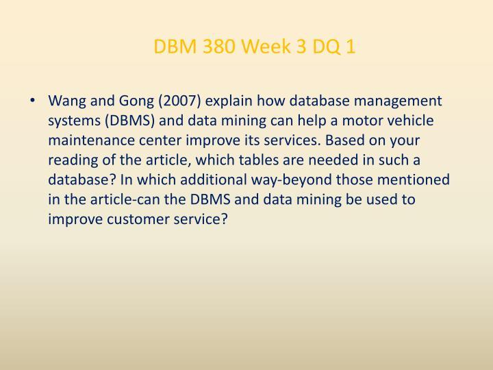 DBM 380 Week 3 DQ 1