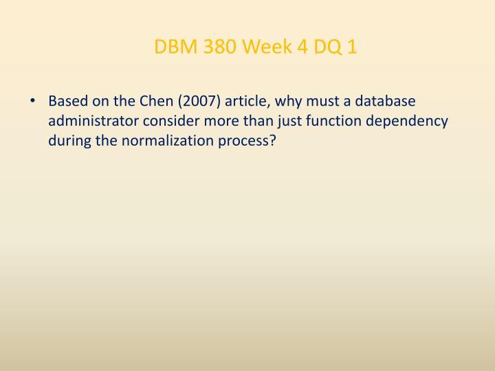 DBM 380 Week 4 DQ 1