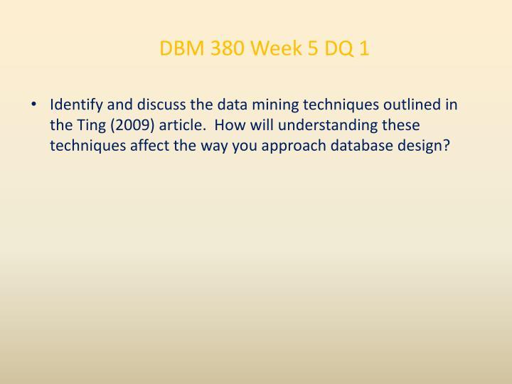 DBM 380 Week 5 DQ 1
