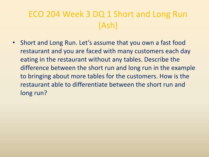 ECO 204 Week 3 DQ 1 Short and Long Run (Ash)